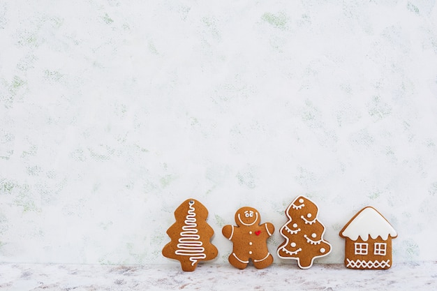 Christmas gingerbread cookies background