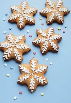 Christmas gingerbread cookies  on a blue background.  homemade delicious christmas gingerbread
