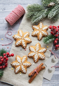 Christmas gingerbread cookies  on a dark background.  homemade delicious christmas gingerbread