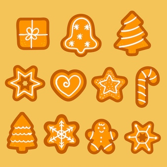 Christmas gingerbread cookies vector.