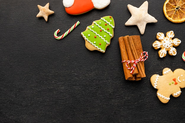 Christmas gingerbread cookies with copy space