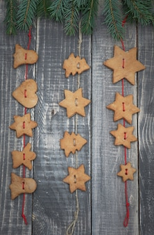 Christmas gingerbread hanging on the twine