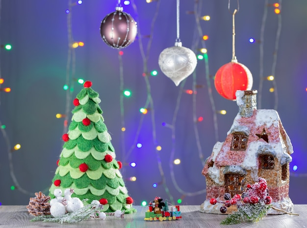 Christmas gingerbread house. christmas gingerbread village, house, tree. christmas new year's background