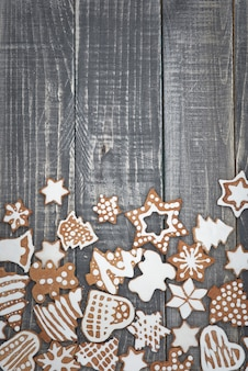 Christmas gingerbread on the wood