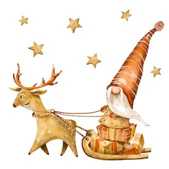 クリスマスノームヴィンテージイラスト。北欧のノームグリーティングカード、冬の気分
