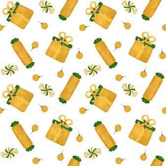 Рождественские золотые подарки, леденцы цифровая бумага, сладости бесшовные модели, оберточная бумага, фон