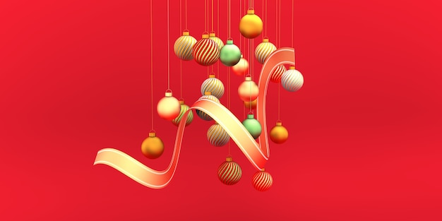 Christmas gold red green bulbs with ribbon on red