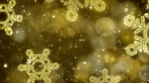 Christmas gold snowflakes with glittering bokeh