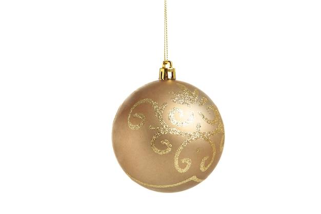 白い背景で隔離のクリスマスゴールデンボール。上面図