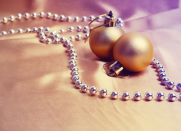 Christmas golden balls or baubles