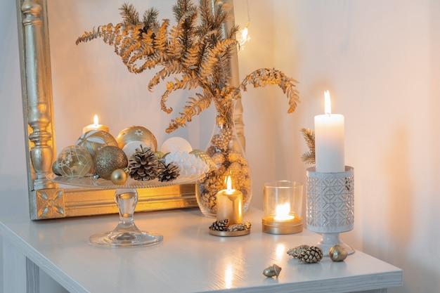 Christmas golden decor in white interior