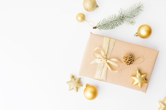 Christmas golden decoration on white