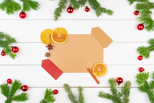 Christmas greeting card background with copy space on white wooden background