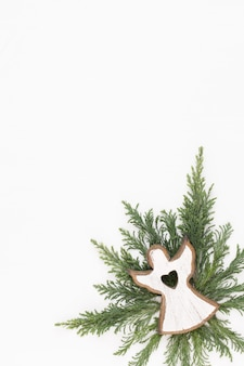 Christmas greeting card. decoration on white wooden background. new year concept. copy space.  flat lay. top view.
