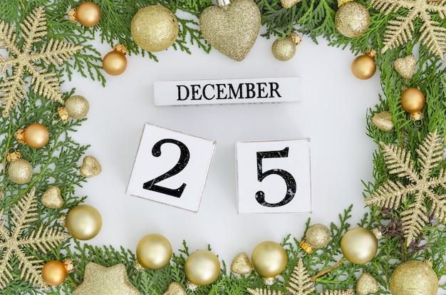 Christmas greeting card design green frame christmas trees and 25 december