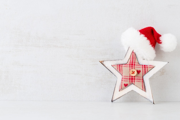 Christmas greeting card. festive decoration on gray background. new year concept. copy space.  flat lay. top view.