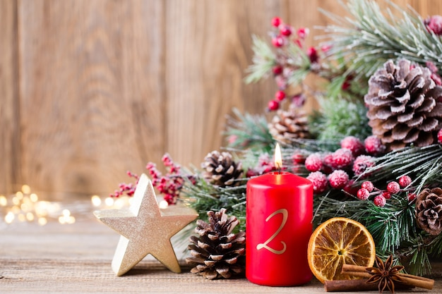 Christmas greeting card festive decoration on wooden background