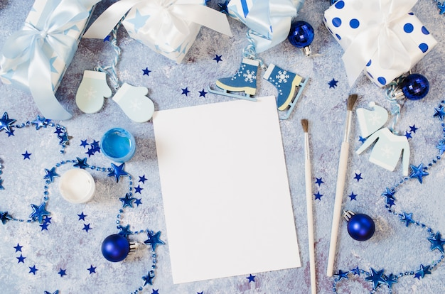 Christmas  for greeting card or letter to santa in blue color.