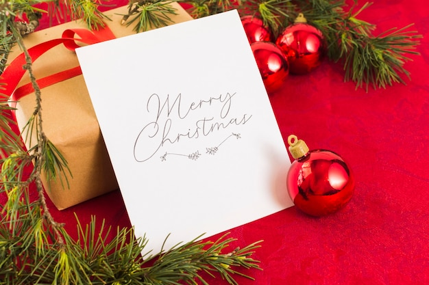 Christmas greeting card on table