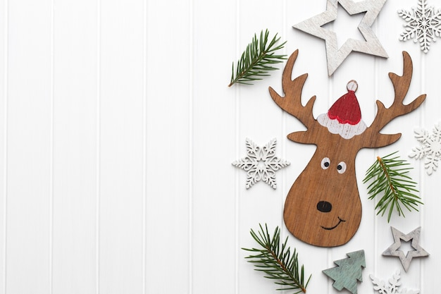 Christmas greeting card with christmas rustic decorations.