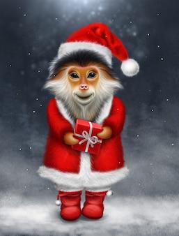 원숭이와 선물 크리스마스 인사말 카드
