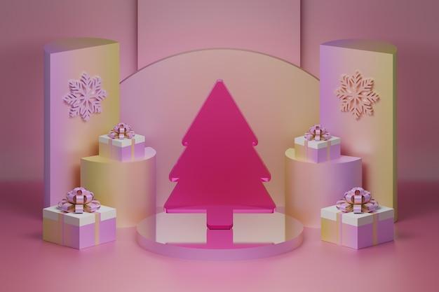 ピンクのガラスの透明なクリスマスツリーと台座にギフトプレゼントとクリスマスグリーティングカード
