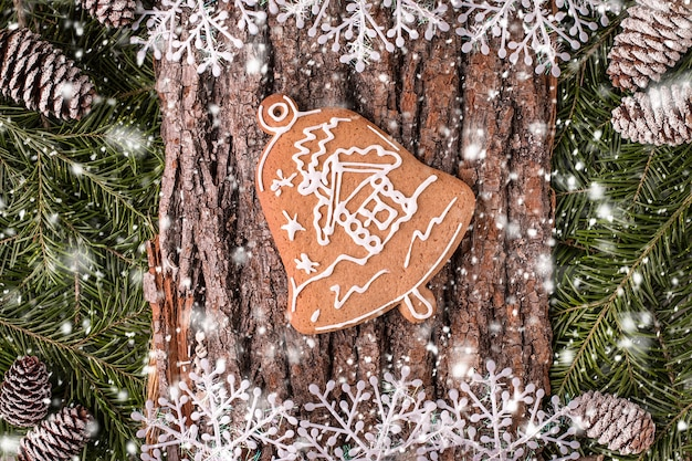 Christmas greeting card with rustic wood and ornaments