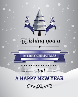 Christmas greeting message with illustrations Premium Photo