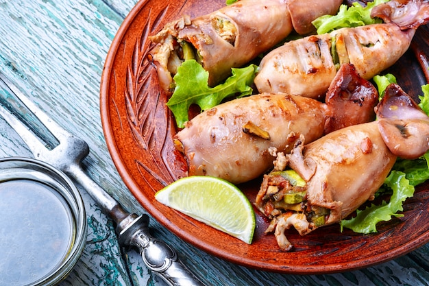 Christmas grilled squid with vegetables