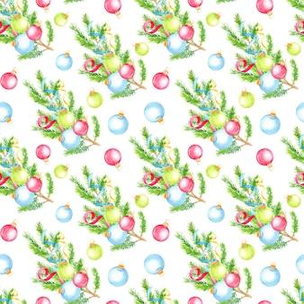 モミの木の枝とクリスマスボールでクリスマス手描きのシームレスなパターン。
