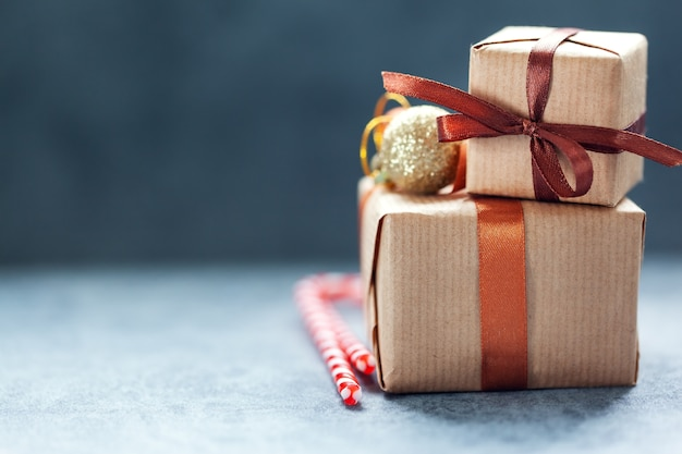 Christmas handmade gift boxes on gray background