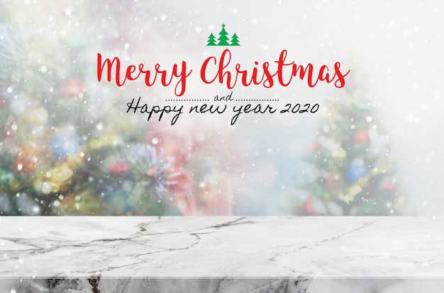 Christmas and happy new year 2020 on empty marble stone table
