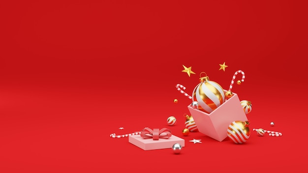 Christmas and happy new year background with festive decoration and copy space.
