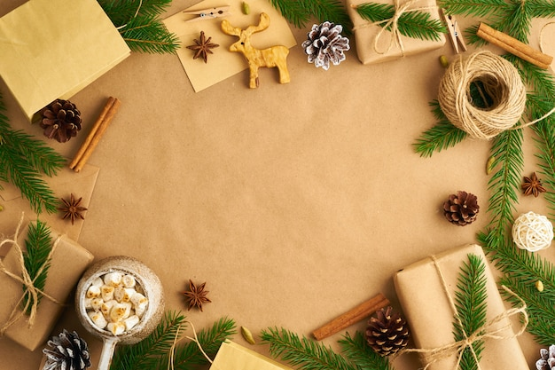 Christmas and happy new year zero waste craft paper background.