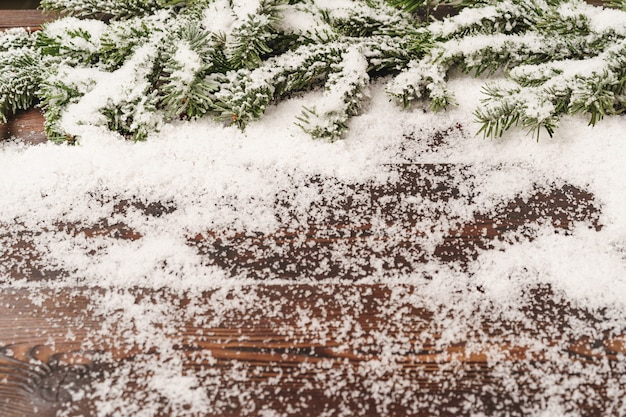 Christmas holiday background with snow, copy space