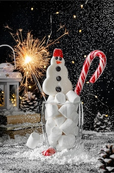 Christmas holiday concept. candy cane and snowman with sparkle on snowy black