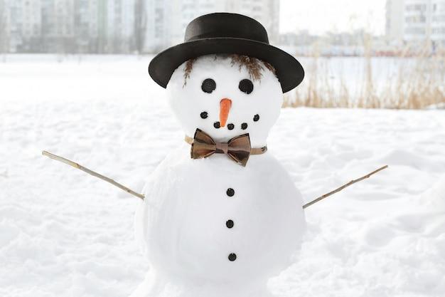 크리스마스 휴일 개념입니다. 겨울에 재미 있는 눈사람