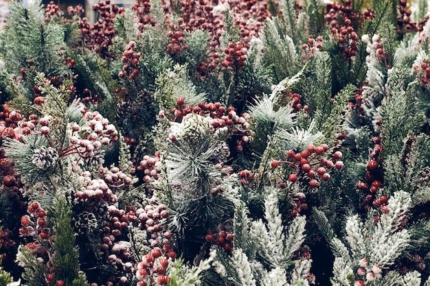 크리스마스 휴일 장식입니다. 크리스마스 전나무 브런치에는 붉은 열매와 눈이 반짝이는 콘이 질감을 더 가까이서 볼 수 있습니다. 얕은 초점. 크리스마스 벽지 컨셉