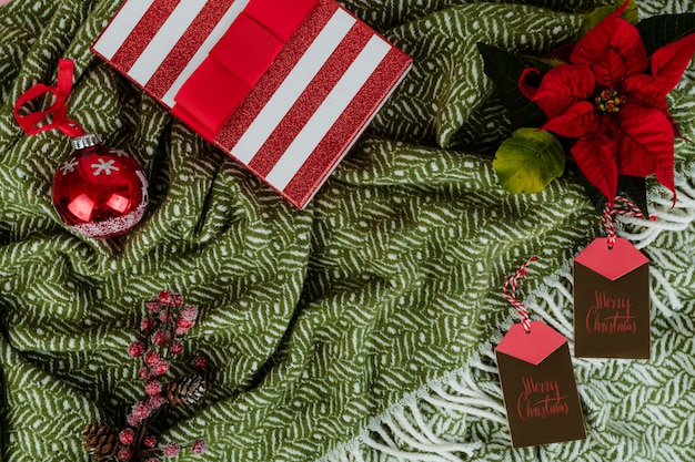 Christmas holiday decorations and gift box