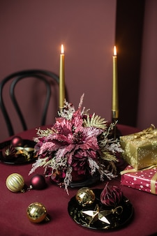 Christmas holiday home decor burgundy style and gold items