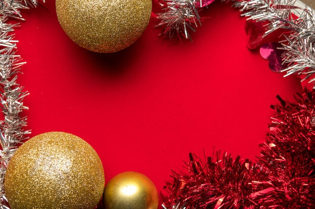 Christmas holidays composition on red with copy space for your text