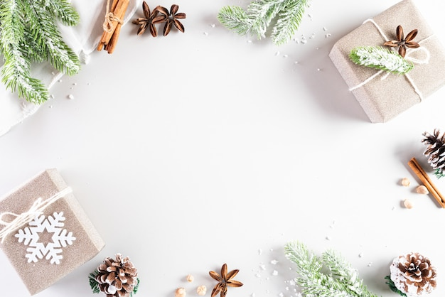 Christmas holidays composition on white  with copyspace for text.