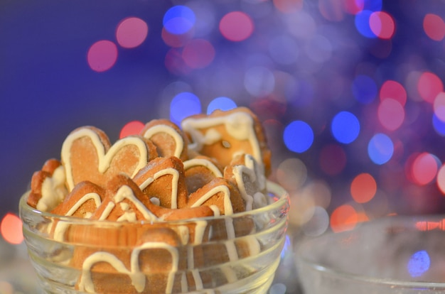 Christmas holidays concept. homemade gingerbread cookies