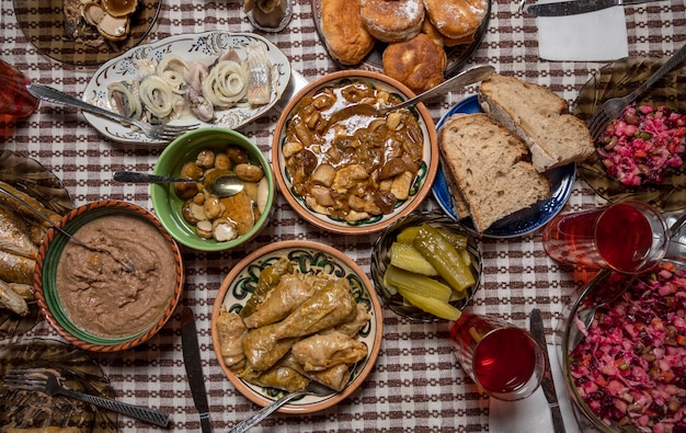 Christmas holy supper.  table with traditional ukrainian homemade food