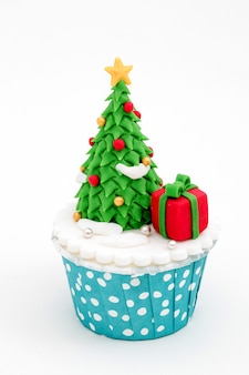 Christmas homemade cupcakes isolated on white background