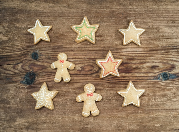 Christmas homemade gingerbread cookies of man and stars