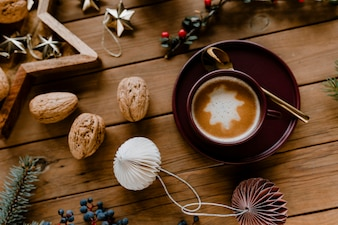 Christmas hot chocolate and walnut wallpaper