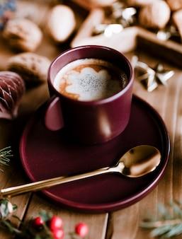Christmas hot chocolate and walnut