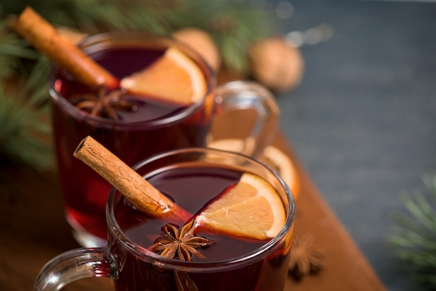 Christmas hot mulled wine with cardamom, cinnamon and anise