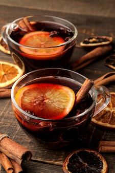 Christmas hot mulled wine with cinnamon and orange